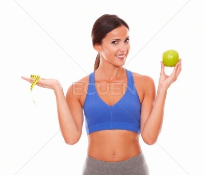 Health-conscious pretty woman looking at you