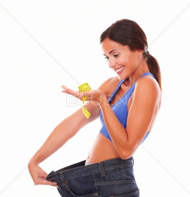 Lady feeling satisfied with loss achievement