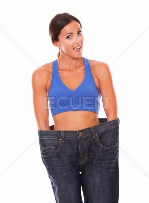 Lady in training clothes measuring body shape
