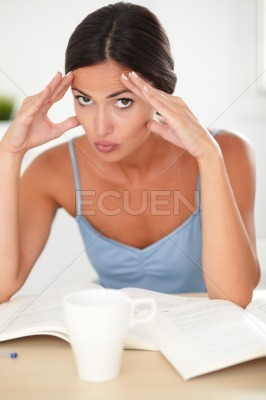 Lovely hispanic adult female looking stressed