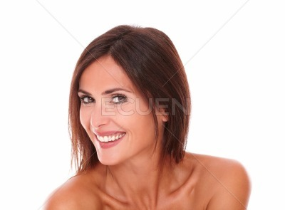 Pretty hispanic woman laughing with freshness