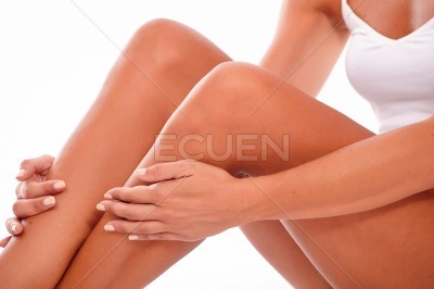 Relaxed healthy female body sitting down