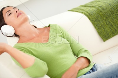 Relaxed woman resting with eyes closed