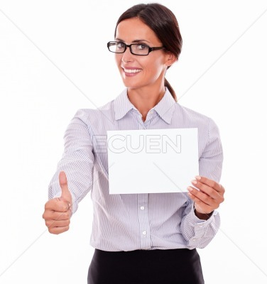 Satisfied businesswoman with a blank signboard
