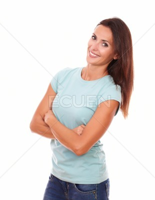 Sexy hispanic woman with crossed arms