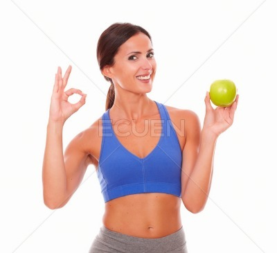 Slim adult lady doing ok sign