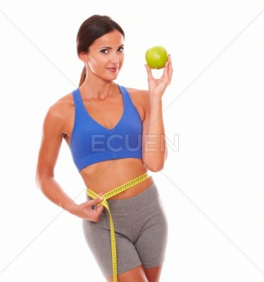 Slim woman in training outfit losing weight