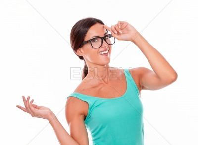 Smiling adult woman having an idea