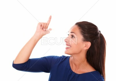 Smiling female with finger pointing up