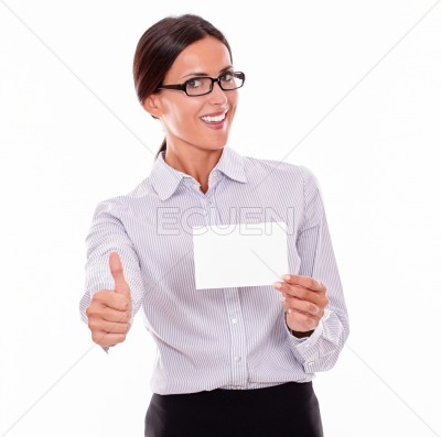 Smiling happy businesswoman with copy space