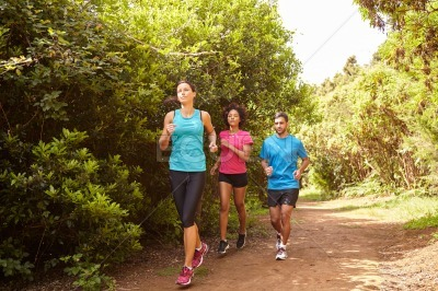 Three joggers running a fun trail