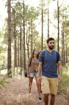 Two friends strolling in a forest