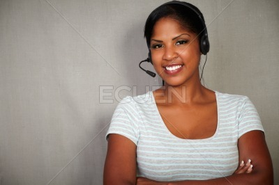 Young callcenter operator looking at the camera