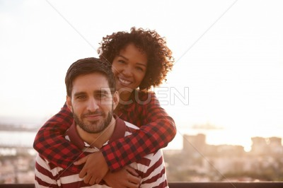 Young couple posing for fun picture
