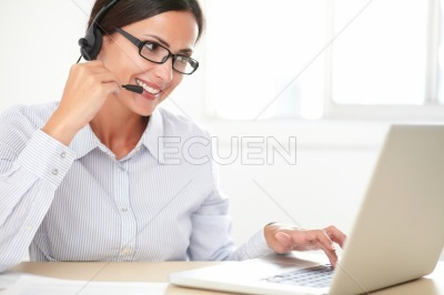Young woman secretary doing customer service
