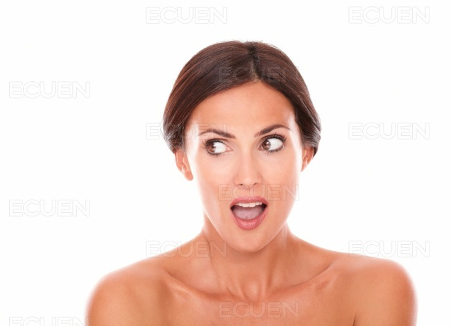 Beautiful adult woman looking to her right stock photo