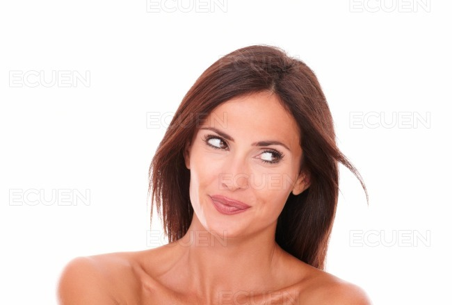 Charming hispanic woman looking to her left stock photo
