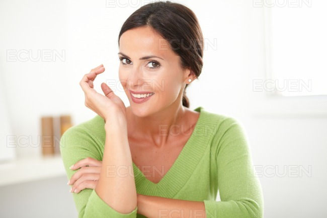 Elegant friendly girl smiling with sincerity