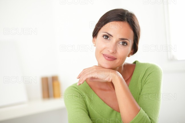 Elegant woman with natural beauty smiling