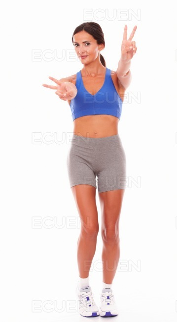 Happy woman smiling in sport clothing