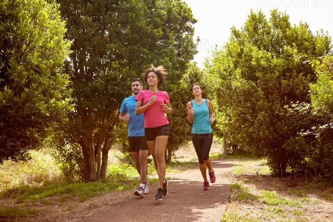 Three joggers on a running trail stock photo