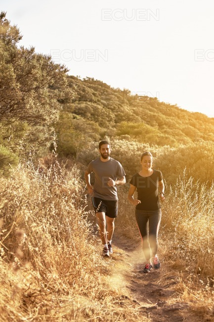 Two people out for a jog stock photo