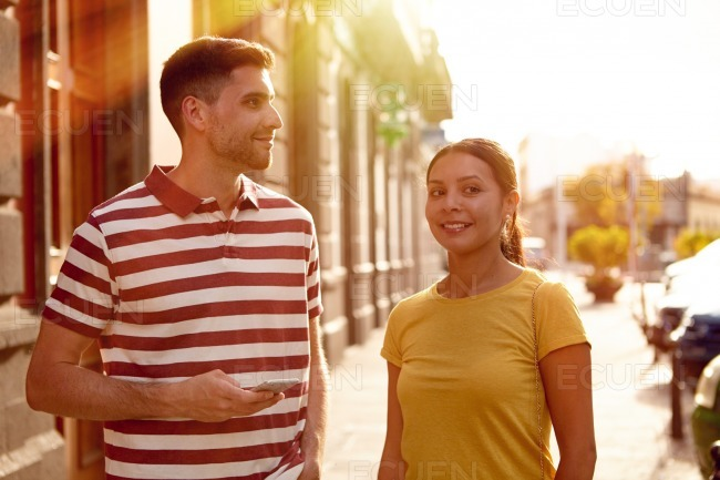 Young couple sightseeing in an old town
