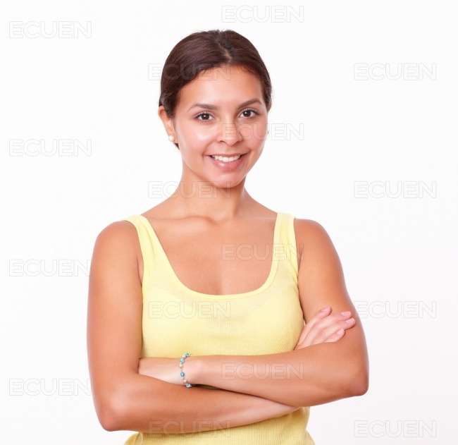 Young latin woman with crossed arms
