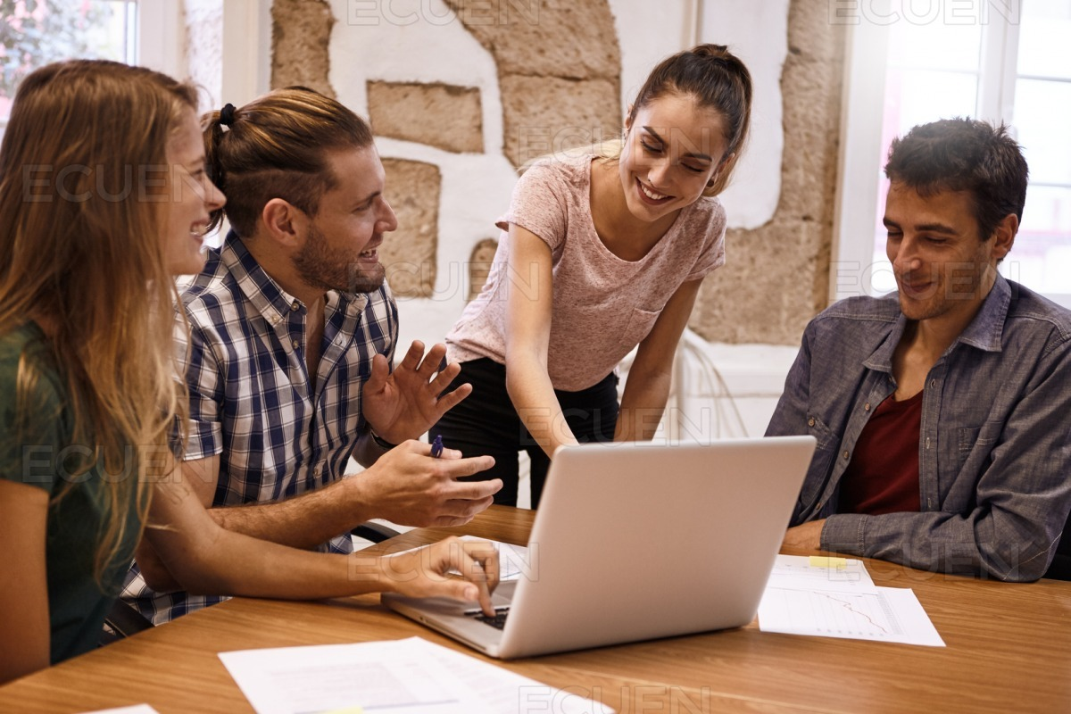 Professional young business team in discussion stock photo