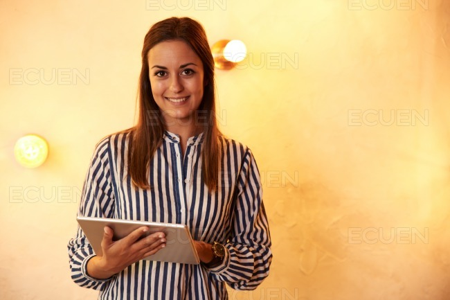 Millennial posing for camera with smile stock photo