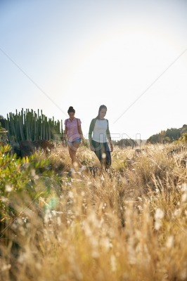 Girls walking down a grassy hill
