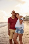 Realxed loving couple on the beach