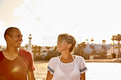 Couple looking deeply into their eyes