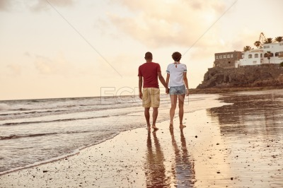 Leisurely stroll through the breaking waves