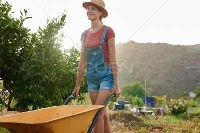 Happy young woman pushing yellow wheelbarrow