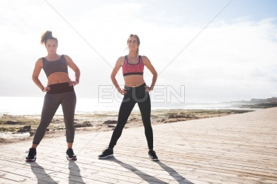 Beautiful young women getting fit together