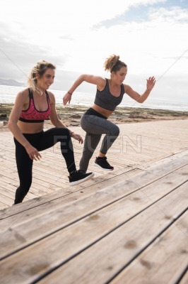 Pretty young women doing fitness training