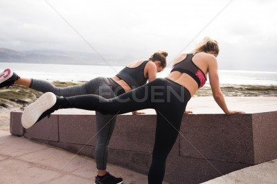 Two young women getting fit together