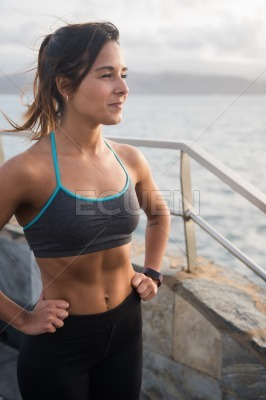 An attractive young woman in excercise clothing