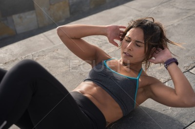 Healthy looking woman in fitness clothing