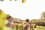 A man and woman having a chat in the vineyards