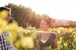 Attractive brunette and man in the vineyards