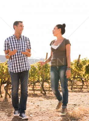 Couple spending time together in the vineyard