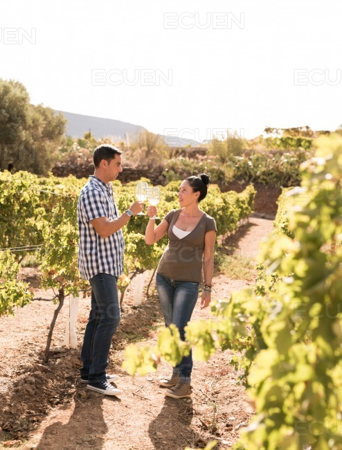 Woman and man standing in the vineyards