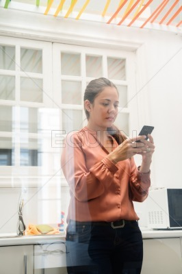 Business woman standing in a kitchen texting