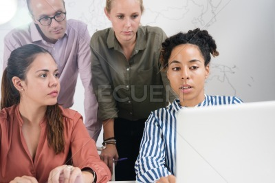 Business team looking very serious discussing