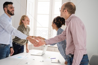Business team shakes hands in greeting