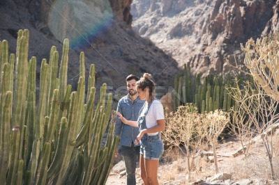 Couple looking at a cactus in the desert