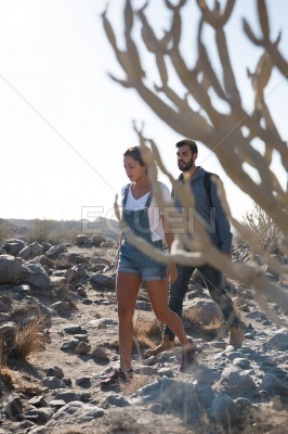 Couple walking through the desert past a cactus