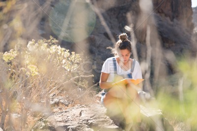 Woman sitting on a rock reading in the mountains